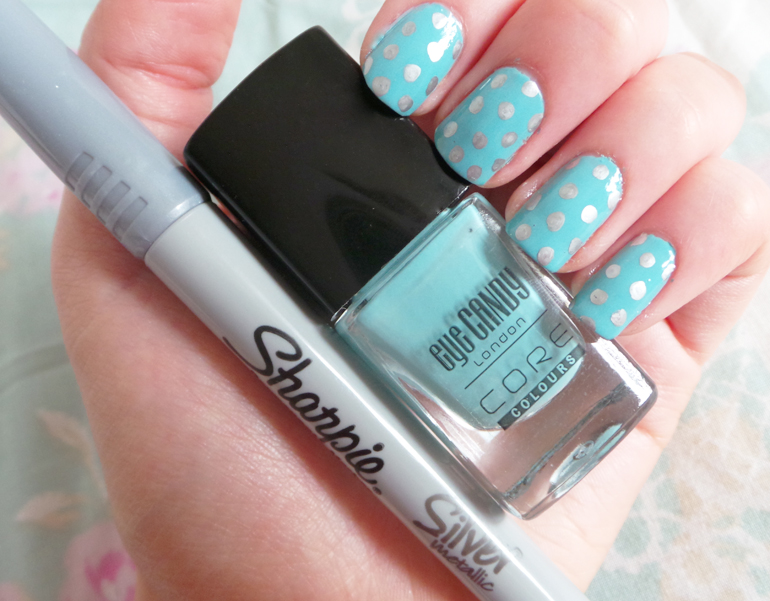 easy nail art, easy polkadot nails, easy polkadot nail tutorial, sharpie pens, metallic sharpie pens, NOTD, pastel nails, mint green pastel nails, spring/summer nails, ss14 nails,