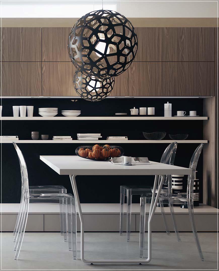 Kjøkken oppsett og nydelig belysning - interiør inspirasjon