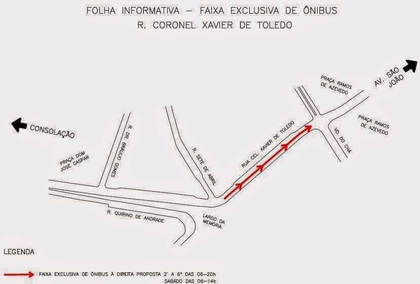 Faixa Exclusiva de Ônibus - Rua Coronel Xavier de Toledo