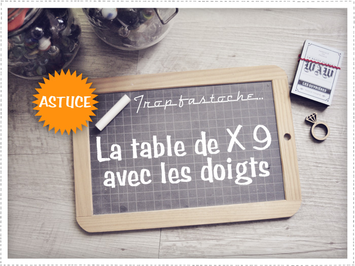 Table de X 9 sur les doigts