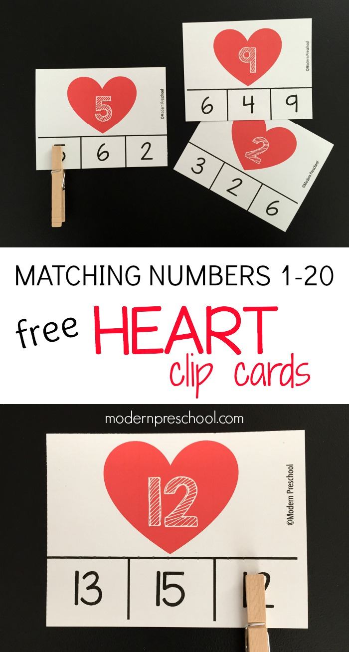 heart number match clip cards
