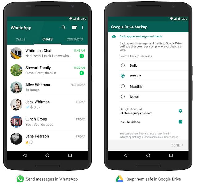 واتساب يدعم الاحتفاظ بمحادثاتك على Google Drive 2