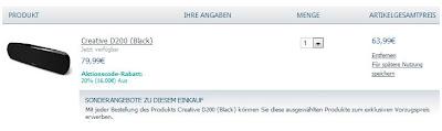 Bluetooth-Lautsprecher Creative D200 für 63,99 Euro inklusive Versandkosten