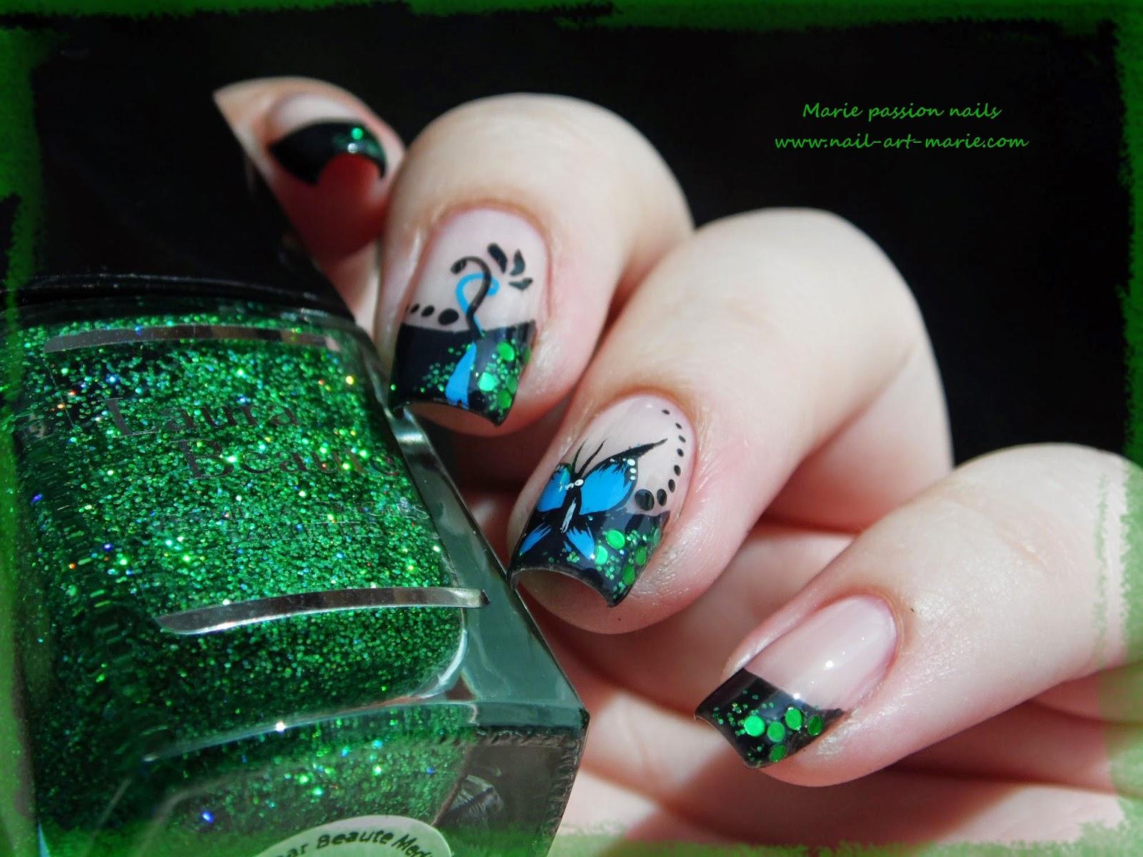 nail art french paillettes et papillons