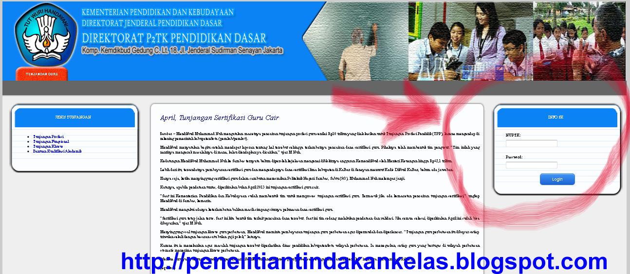 halaman depan situs P2TK Dikdas untuk Cek SK Pembayaran Tunjangan