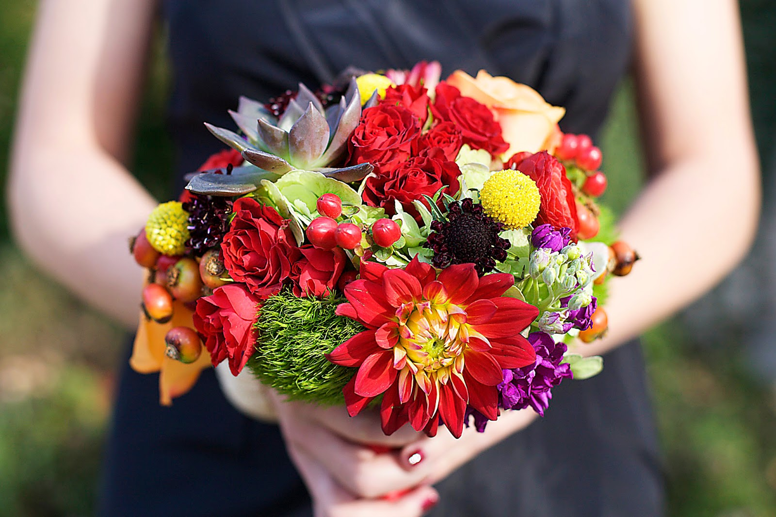 Vibrant mixed fall bouquets at The Dark Horse Distillery | Erin ...