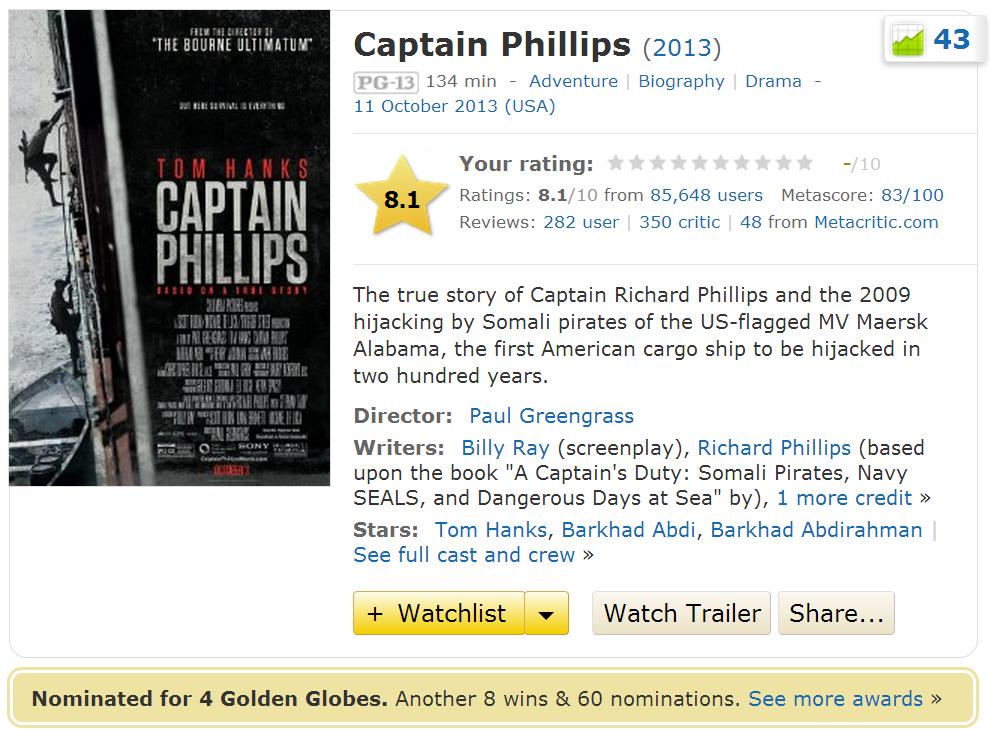 Captain Phillips 2013 Movie IMDB