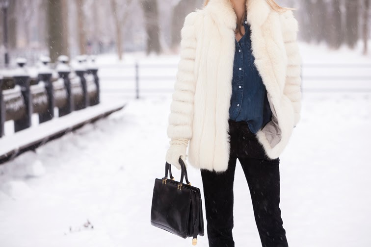 Black leather vintage bag, denim shirt, fur, wool knit homemade gloves, outerwear, wintertime
