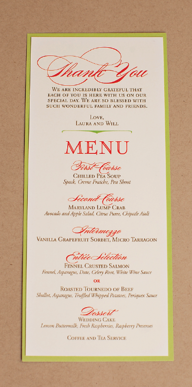Nico And Lala Wedding Reception Menu Cards