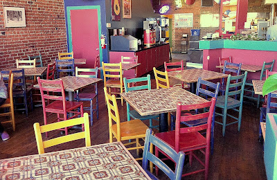 Colorful chairs at the Armadillo Grill Mexican Restaurant