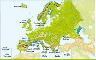 Mapa De Europa Con Sus Peninsulas