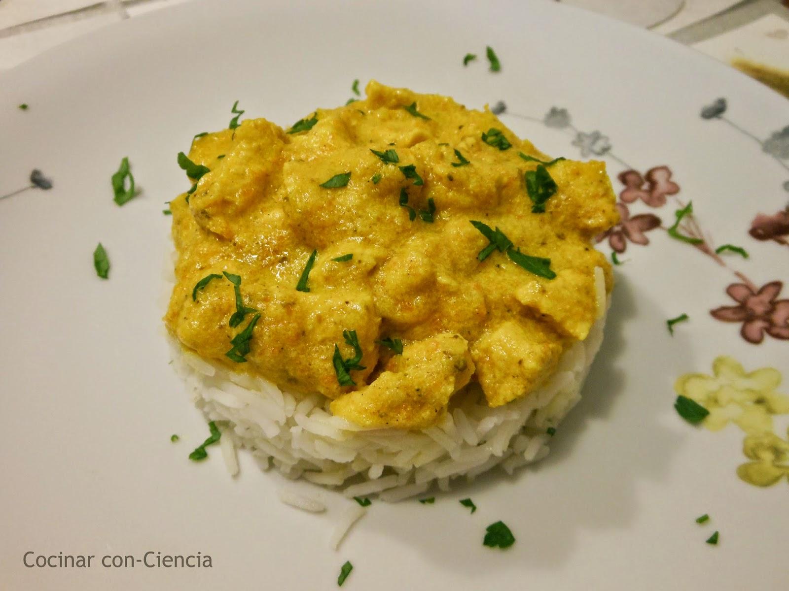Pollo al curry con arroz basmati cocinar con ciencia for Como cocinar 5 kilos de arroz
