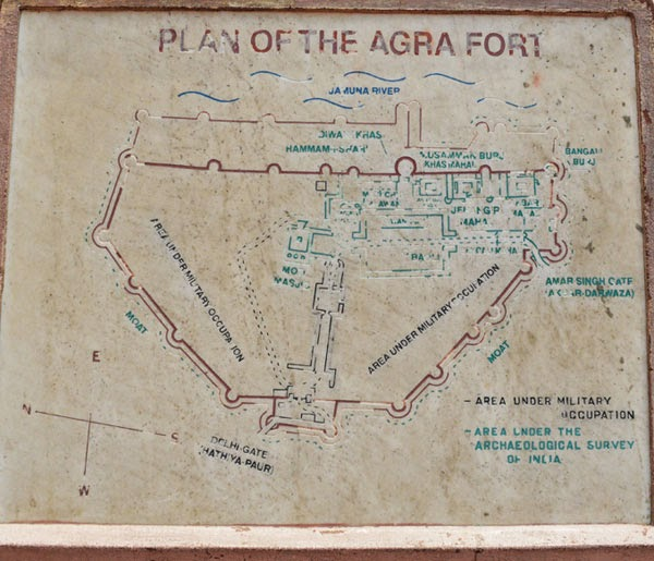 map of agra fort