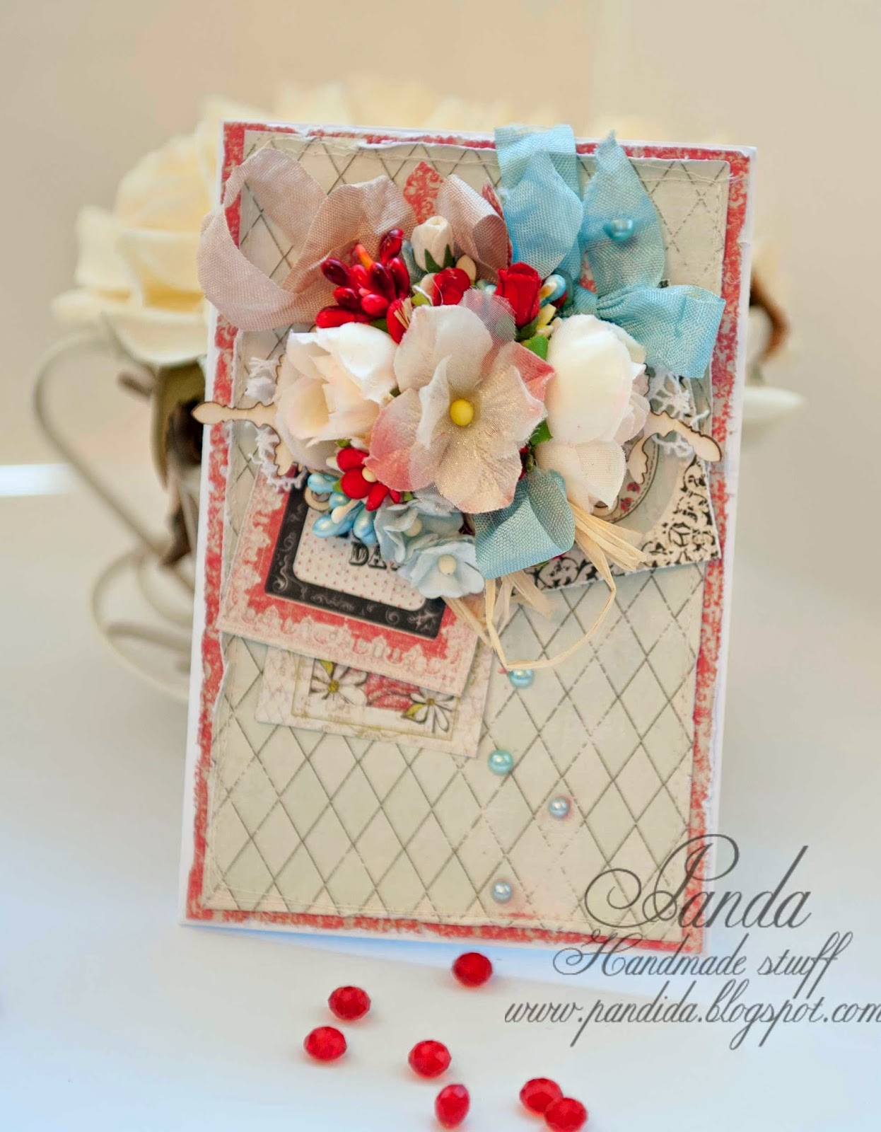 I used Loolah paper pad by creative Imaginations, Prima flowers and I am roses flowers and wycinanka chipboard