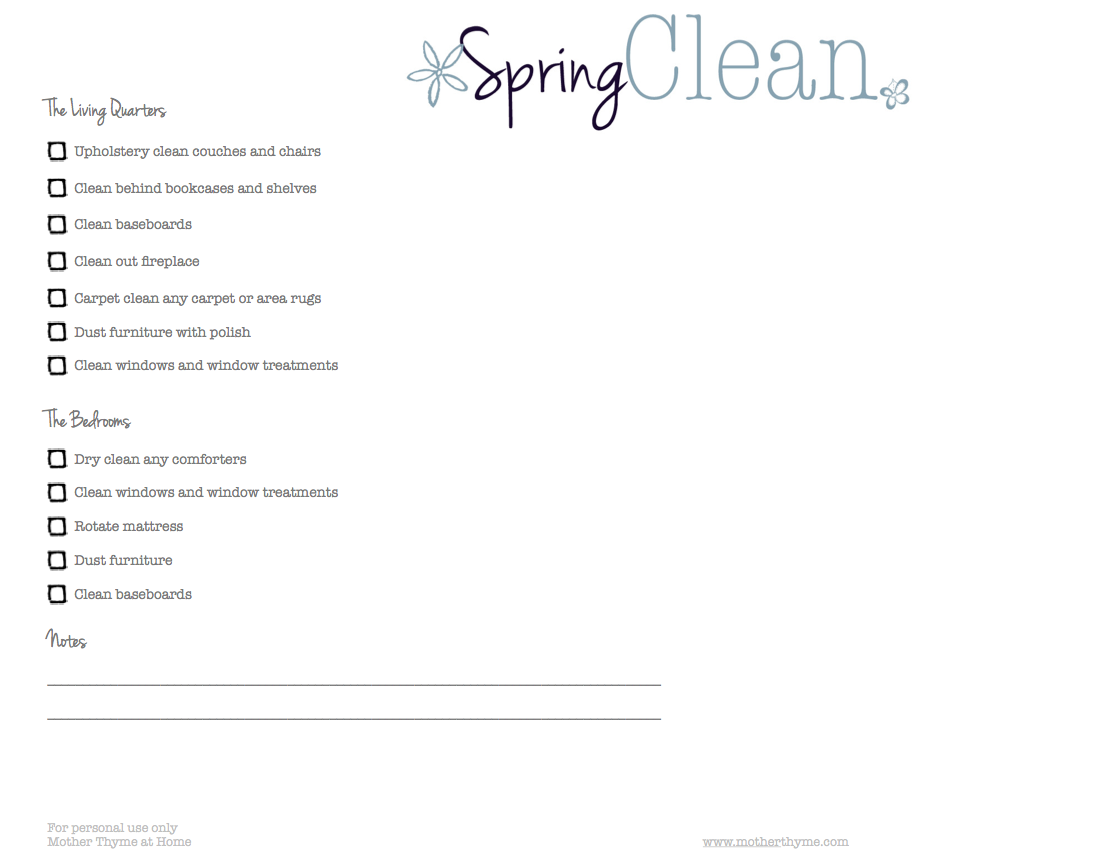 Spring Cleaning Printable Checklist Mother Thyme – Printable Checklist