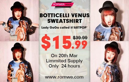 Romwe Botticelli's Venus Sweatshirt