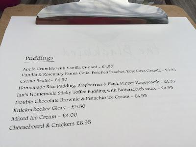 The Blackbird Pub, Ponteland - pudding/dessert menu