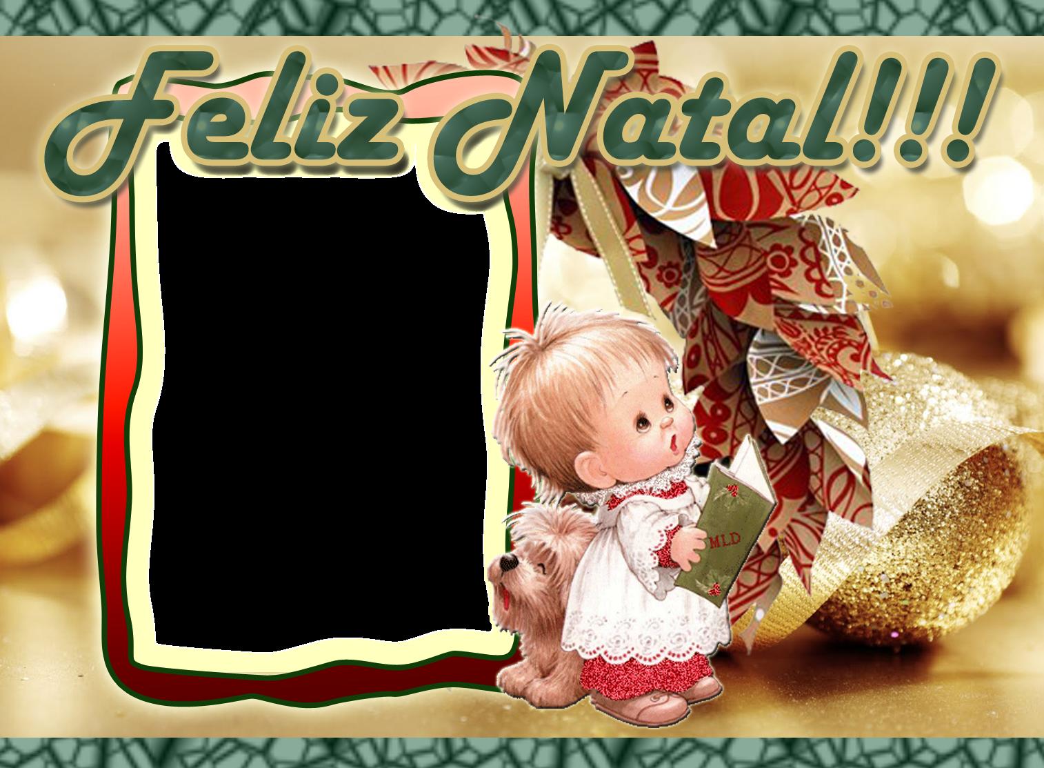 Moldura Feliz Natal   Menino Cantando  Guirlanda E Fundo Dourado