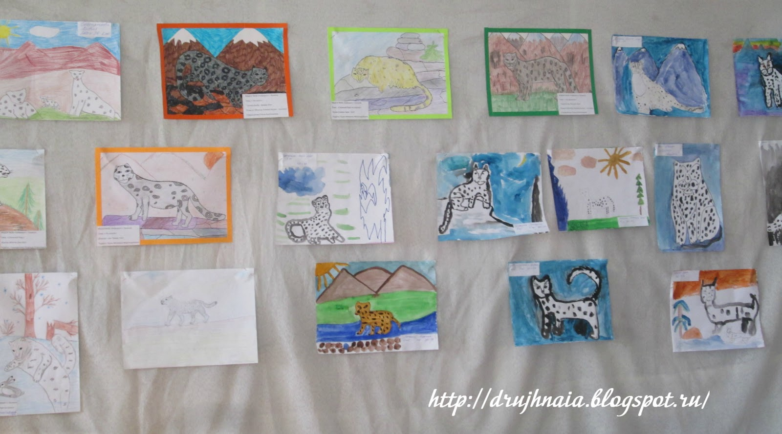 Детские рисунки снежного барса