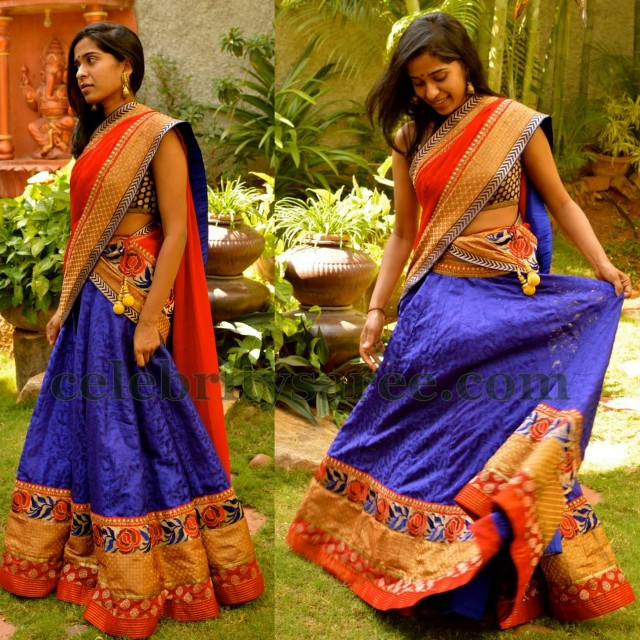 Radiant Blue Half Saree