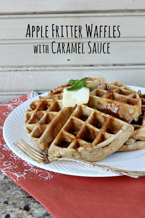 Apple Fritter Waffles with Caramel Sauce