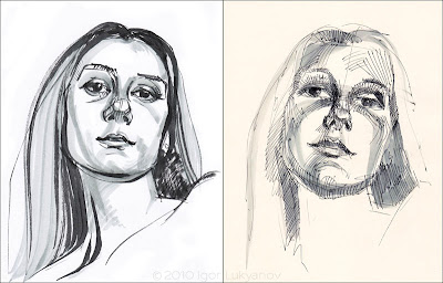 sketching a woman face (female portrait drawing)