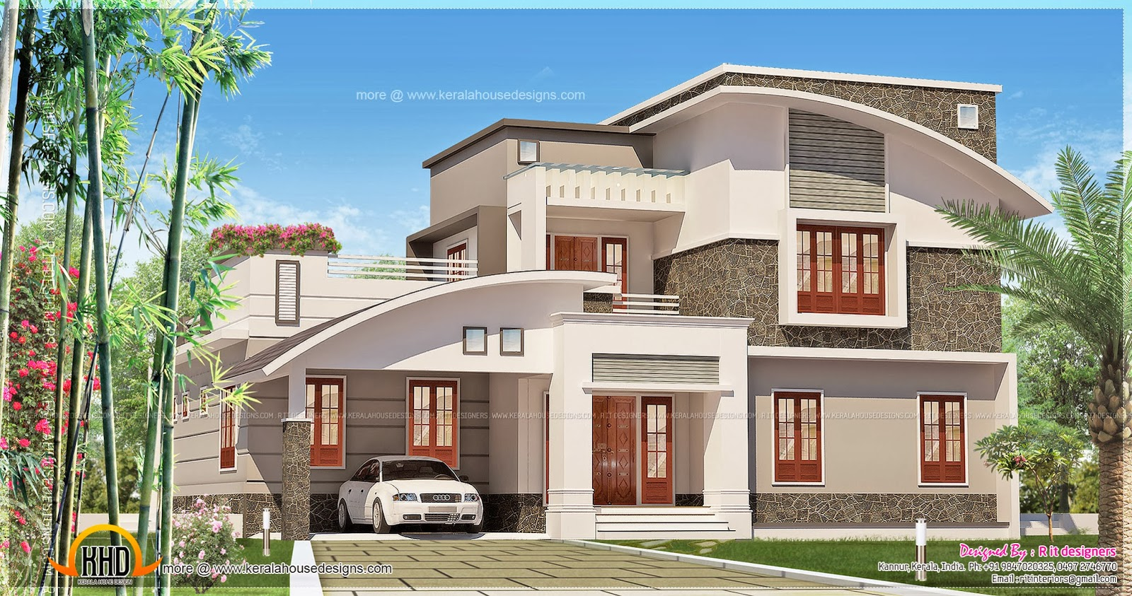 3 bedroom contemporary mix house exterior kerala home for Exterior house designs indian style