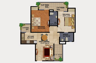 34 Pavilion :: Floor Plans,Azure:- 2 BHK2 Bedrooms, 2 Toilets, Kitchen, Dining, Drawing, 3 Balconies Super Area - 1075 Sq Ft