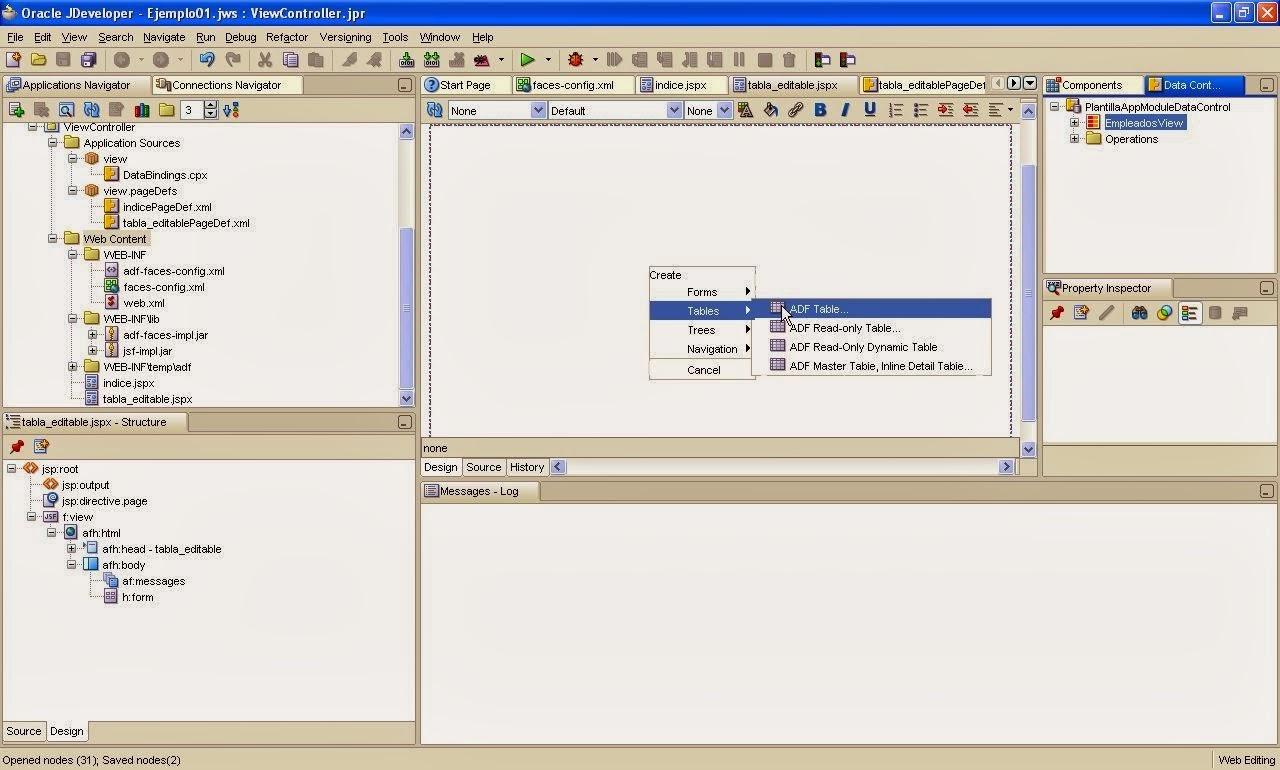 incluir componente desde datacontrol palette