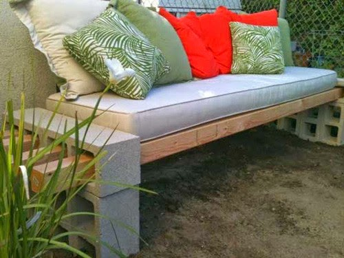 outdoor benches with brick and wood | Vietnam Outdoor Furniture