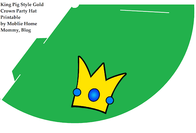 Pintable Green Party hat with tilted gold crown like King Pig wears
