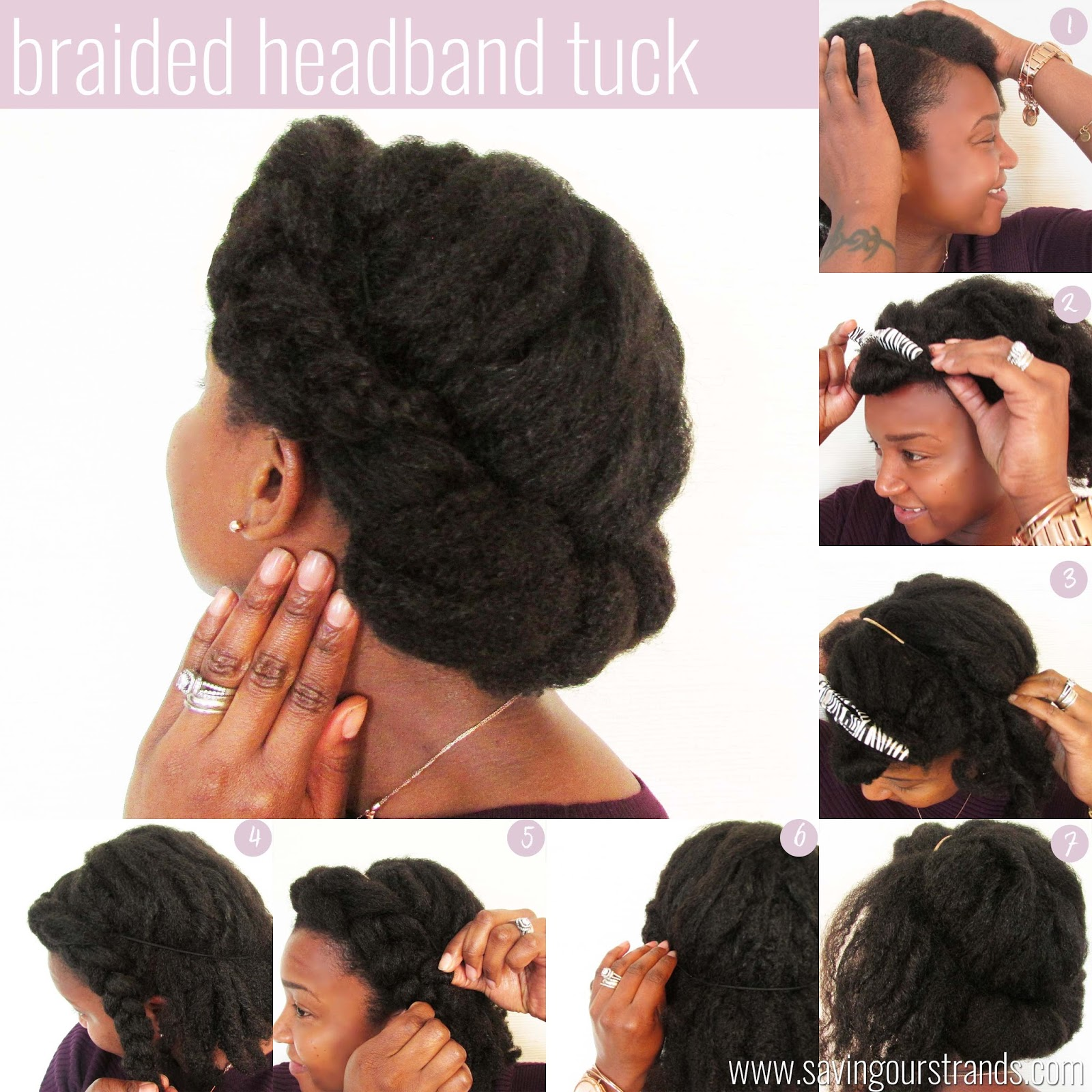 Braided Headband Tuck Here's How I Did It: Begin With Stretched Hair  (i Stretched My Hair Using Curlformers) Then Create A Heavy Side Part