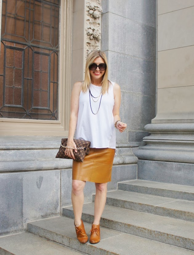 leather skirt, white tank, ECCO 65 sculptured booties
