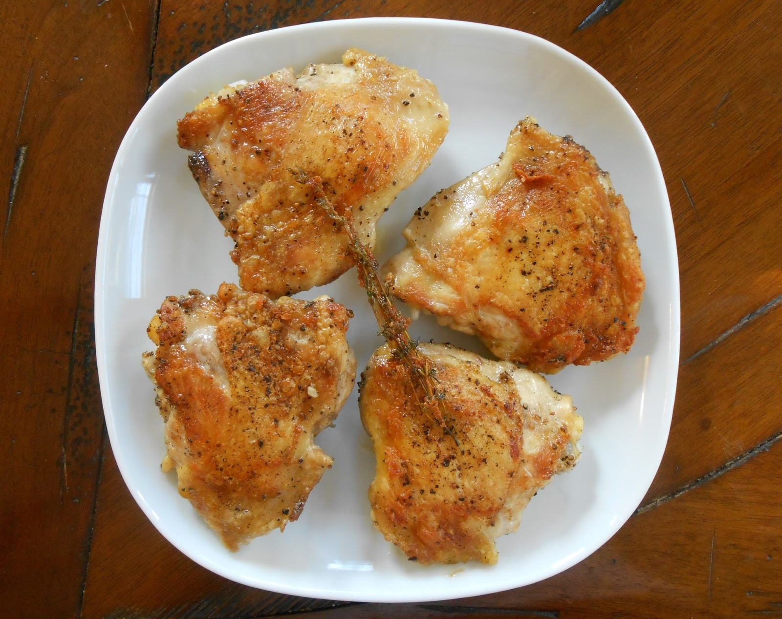 Bake and baste no oil crispy chicken thighs weeknight dinners no oil crispy chicken thighs forumfinder Image collections