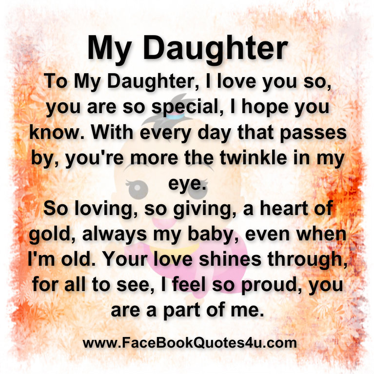 Quotes About Love Your Daughter : Daughter Quotes For Facebook. QuotesGram