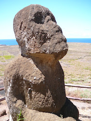 Rare Moai -- Bearded, round head, and with legs -- Rano Raraku Crater, Easter Island