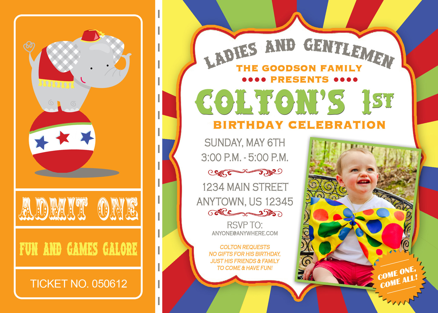 First birthday circus invitations