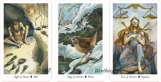 Wildwood Tarot Eight of Stones Page of Arrows Two of Arrows