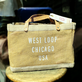 "Apolis ""West Loop Chicago"" burlap bag at Independence."