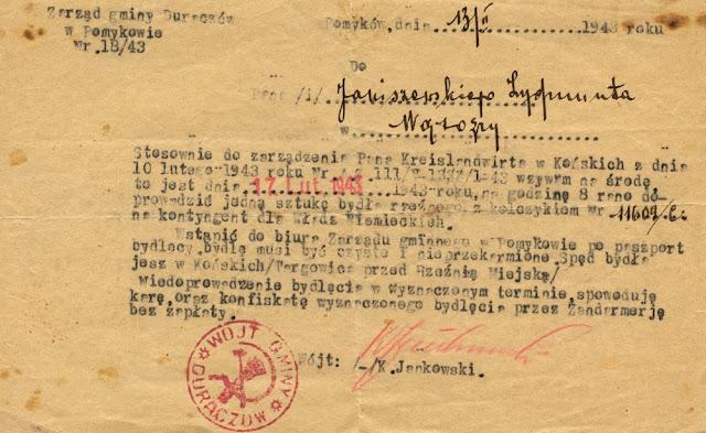 Pismo Zarządu gminy Duraczów w Pomykowie z dnia 13.02.2.1943. Pieczęć i podpis wójta K. Jankowskiego. Pismo w zbiorach KW.