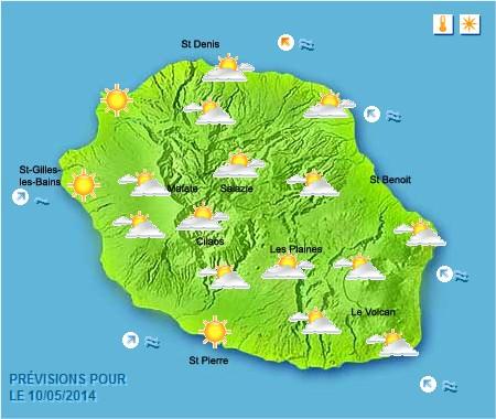 Prévisions météo Réunion pour le Samedi 10/05/14
