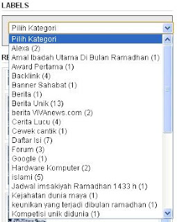 Cara membuat label bentuk dropdown di blog