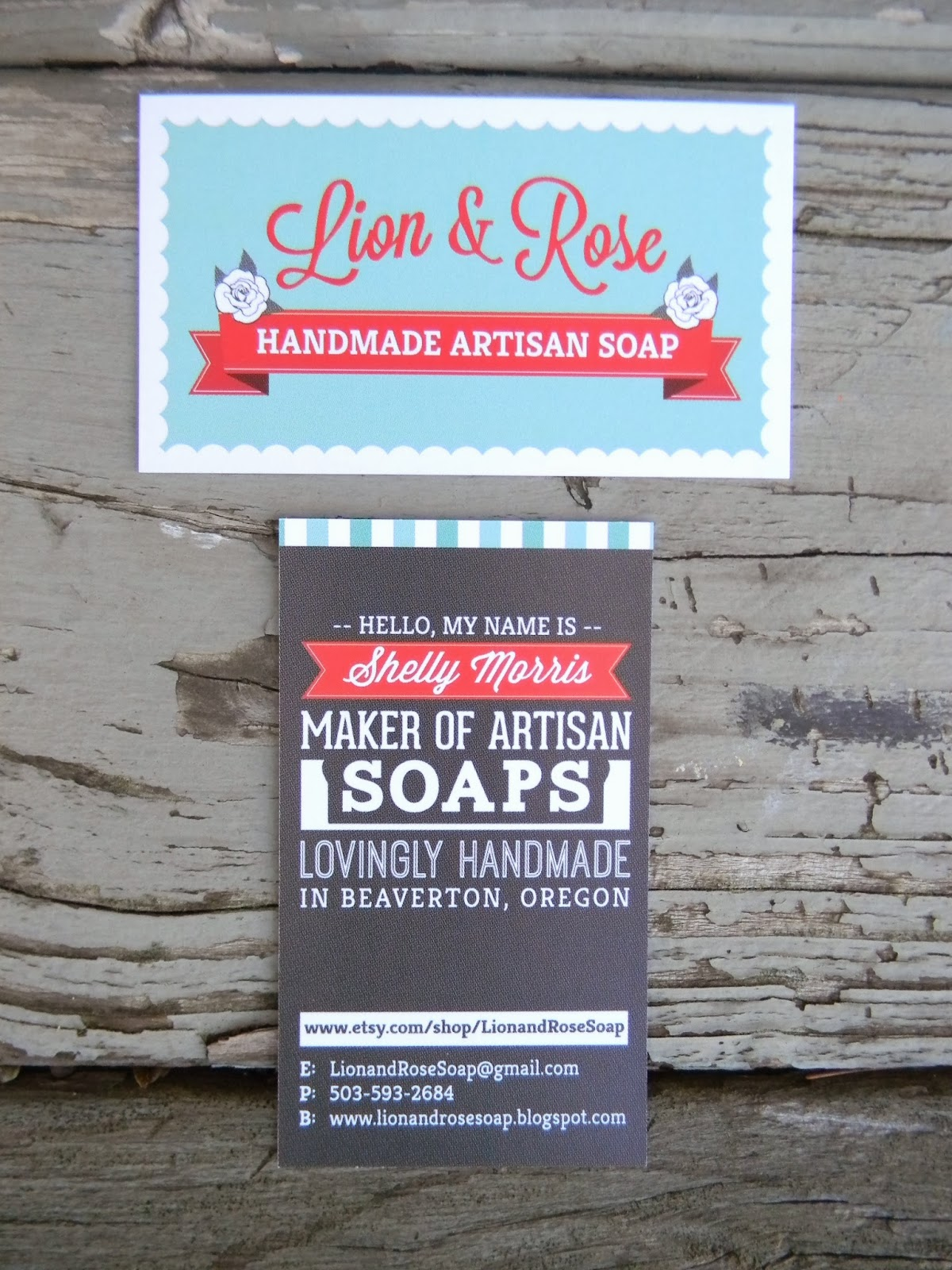 Lion & Rose Handmade Soap Blog: New Business Card!