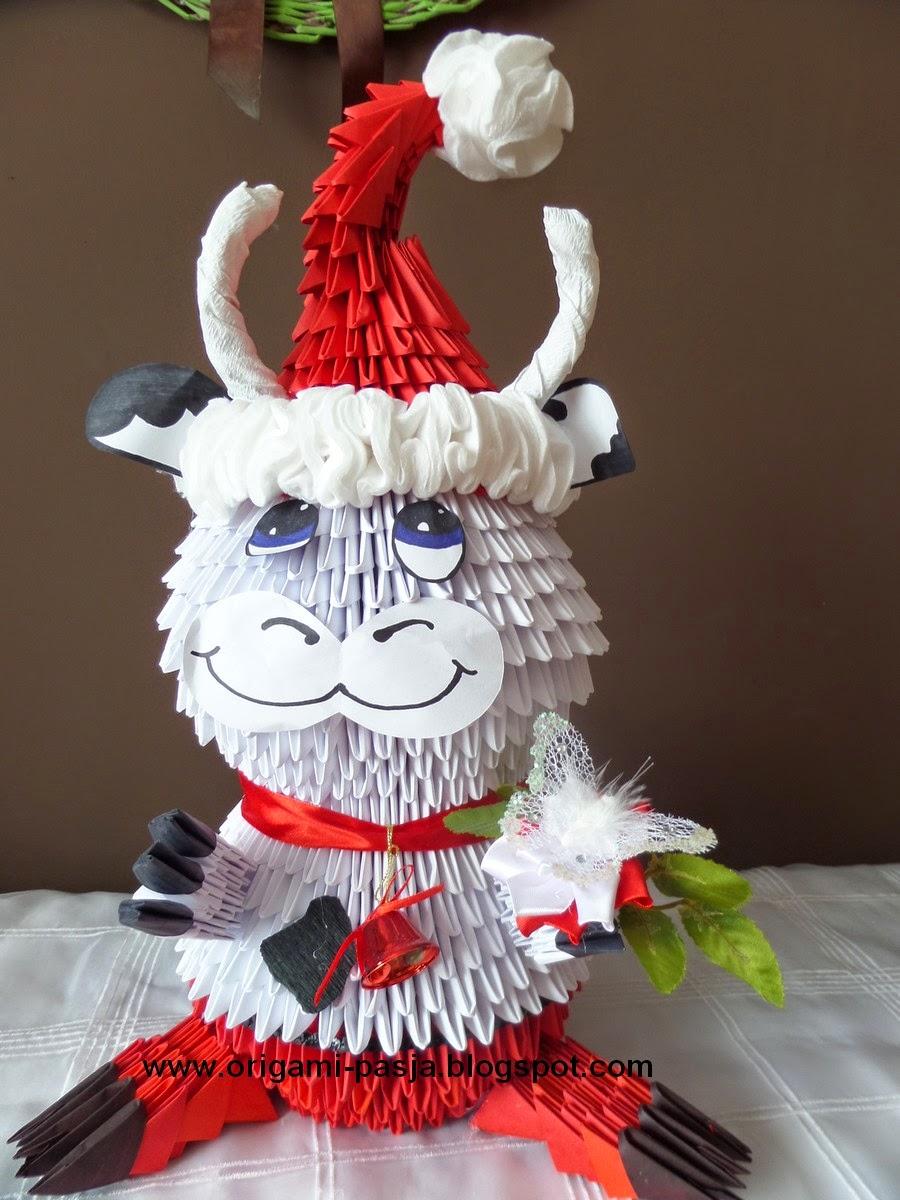 Krowa-Mikołaj  origami modułowe