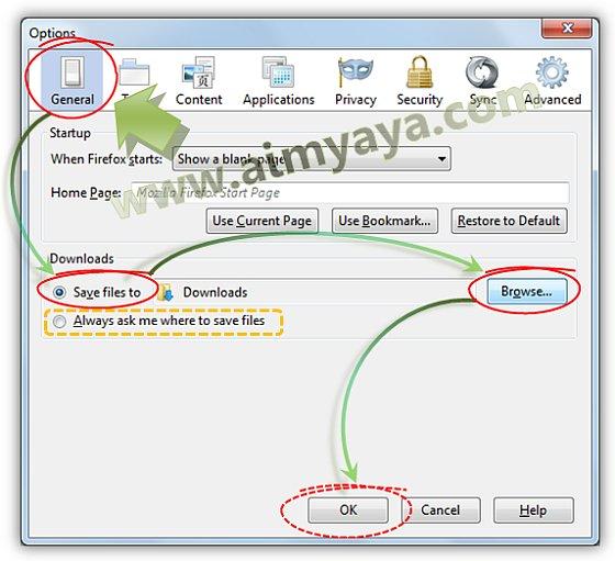 Gambar: Merubah lokasi default folder download Mozilla Firefox