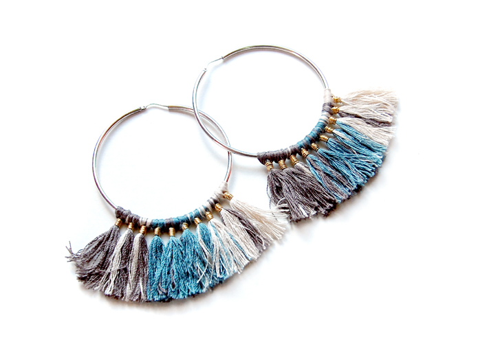 Design Thrift Blog: DIY tasseled hoop earrings