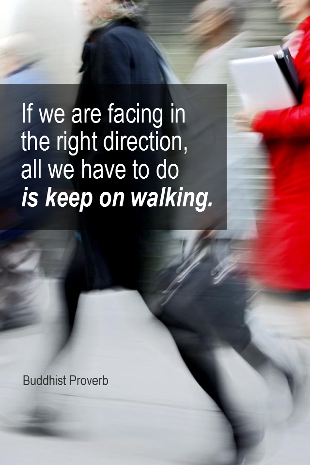 visual quote - image quotation for DIRECTION - If we are facing in the right direction, all we have to do is keep on walking. -  Buddhist Proverb