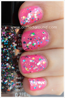 Essence Circus confetti rainbow glitter polish swatch