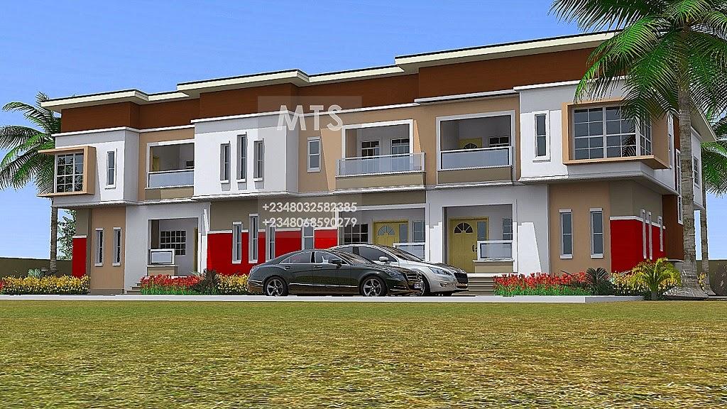 3 units of 4 bedroom terrace duplex residential homes for 4 bedroom duplex designs