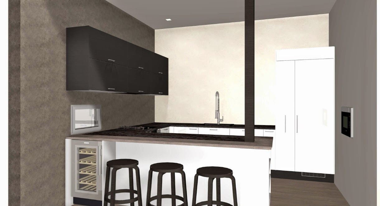 Puustellin keittiö olohuoneesta katsottuna